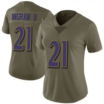 Women's Nike Baltimore Ravens Mark Ingram Green 2017 Salute to Service Jersey - Limited