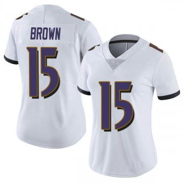 Women's Nike Baltimore Ravens Marquise Brown White Vapor Untouchable Jersey - Limited