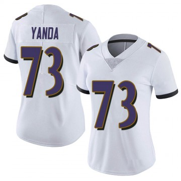 Women's Nike Baltimore Ravens Marshal Yanda White Vapor Untouchable Jersey - Limited
