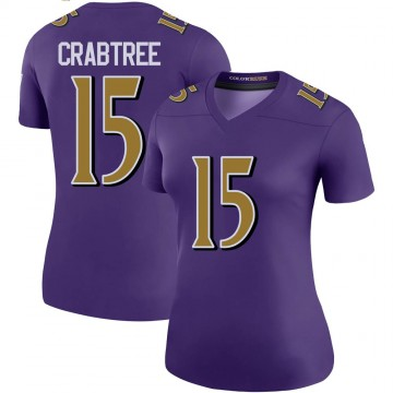 Women's Nike Baltimore Ravens Michael Crabtree Purple Color Rush Jersey - Legend