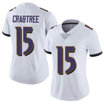 Women's Nike Baltimore Ravens Michael Crabtree White Vapor Untouchable Jersey - Limited