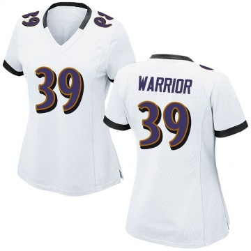 Women's Nike Baltimore Ravens Nigel Warrior White Jersey - Game