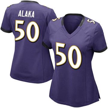 Women's Nike Baltimore Ravens Otaro Alaka Purple Team Color Vapor Untouchable Jersey - Limited