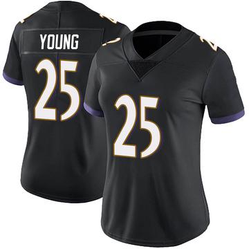 Women's Nike Baltimore Ravens Tavon Young Black Alternate Vapor Untouchable Jersey - Limited
