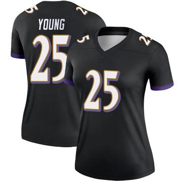 Women's Nike Baltimore Ravens Tavon Young Black Jersey - Legend