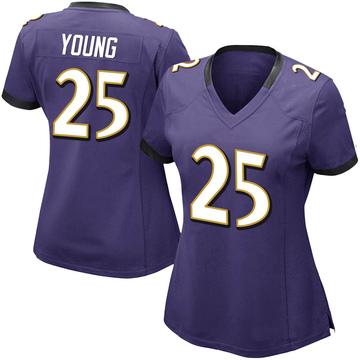 Women's Nike Baltimore Ravens Tavon Young Purple Team Color Vapor Untouchable Jersey - Limited