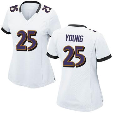 Women's Nike Baltimore Ravens Tavon Young White Jersey - Game