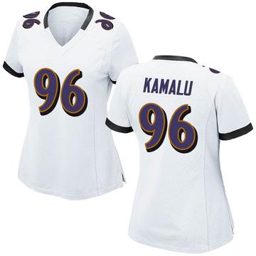 Women's Nike Baltimore Ravens Ufomba Kamalu White Jersey - Game