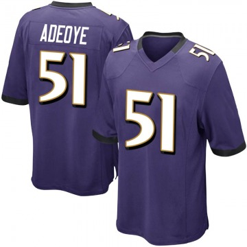Youth Nike Baltimore Ravens Aaron Adeoye Purple Team Color Jersey - Game