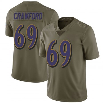 Youth Nike Baltimore Ravens Aaron Crawford Green 2017 Salute to Service Jersey - Limited