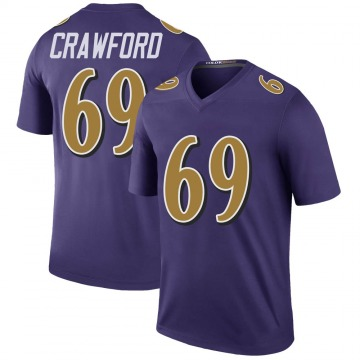 Youth Nike Baltimore Ravens Aaron Crawford Purple Color Rush Jersey - Legend