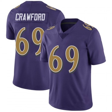 Youth Nike Baltimore Ravens Aaron Crawford Purple Color Rush Vapor Untouchable Jersey - Limited