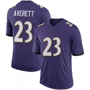 Youth Nike Baltimore Ravens Anthony Averett Purple 100th Vapor Jersey - Limited