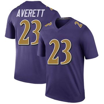 Youth Nike Baltimore Ravens Anthony Averett Purple Color Rush Jersey - Legend