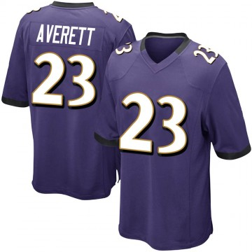 Youth Nike Baltimore Ravens Anthony Averett Purple Team Color Jersey - Game