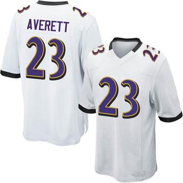 Youth Nike Baltimore Ravens Anthony Averett White Jersey - Game