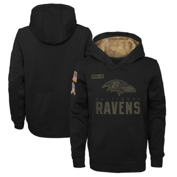Youth Nike Baltimore Ravens Black 2020 Salute to Service Pullover Performance Hoodie -