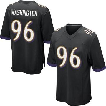 Youth Nike Baltimore Ravens Broderick Washington Jr. Black Jersey - Game