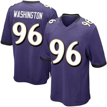 Youth Nike Baltimore Ravens Broderick Washington Jr. Purple Team Color Jersey - Game