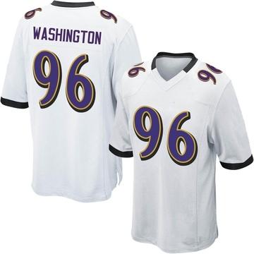 Youth Nike Baltimore Ravens Broderick Washington Jr. White Jersey - Game