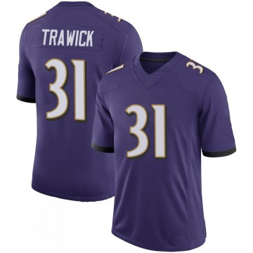 Youth Nike Baltimore Ravens Brynden Trawick Purple 100th Vapor Jersey - Limited