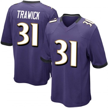 Youth Nike Baltimore Ravens Brynden Trawick Purple Team Color Jersey - Game