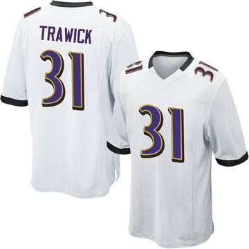 Youth Nike Baltimore Ravens Brynden Trawick White Jersey - Game