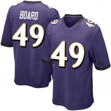 Youth Nike Baltimore Ravens Chris Board Purple Team Color Jersey - Game