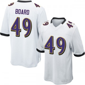 Youth Nike Baltimore Ravens Chris Board White Jersey - Game
