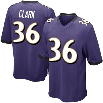 Youth Nike Baltimore Ravens Chuck Clark Purple Team Color Jersey - Game