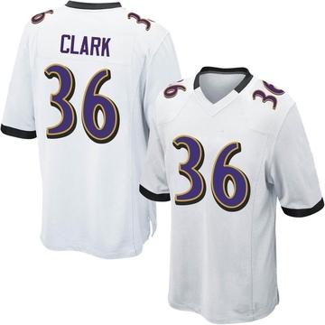 Youth Nike Baltimore Ravens Chuck Clark White Jersey - Game
