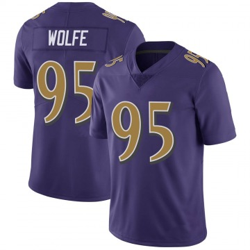 Youth Nike Baltimore Ravens Derek Wolfe Purple Color Rush Vapor Untouchable Jersey - Limited