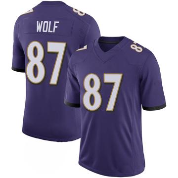 Youth Nike Baltimore Ravens Eli Wolf Purple 100th Vapor Jersey - Limited