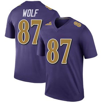 Youth Nike Baltimore Ravens Eli Wolf Purple Color Rush Jersey - Legend