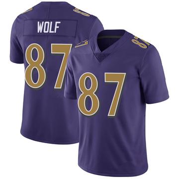 Youth Nike Baltimore Ravens Eli Wolf Purple Color Rush Vapor Untouchable Jersey - Limited