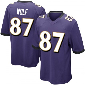 Youth Nike Baltimore Ravens Eli Wolf Purple Team Color Jersey - Game