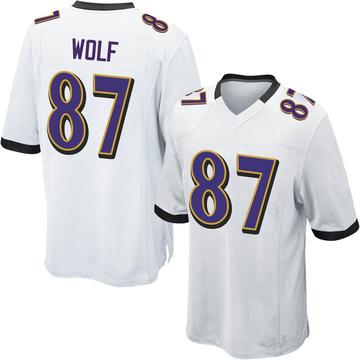 Youth Nike Baltimore Ravens Eli Wolf White Jersey - Game