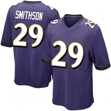 Youth Nike Baltimore Ravens Fish Smithson Purple Team Color Jersey - Game