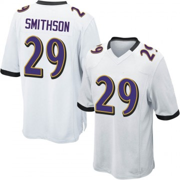 Youth Nike Baltimore Ravens Fish Smithson White Jersey - Game