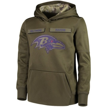 Youth Nike Baltimore Ravens Green 2018 Salute to Service Pullover Performance Hoodie -