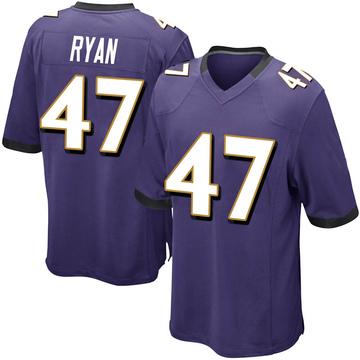 Youth Nike Baltimore Ravens Jake Ryan Purple Team Color Jersey - Game