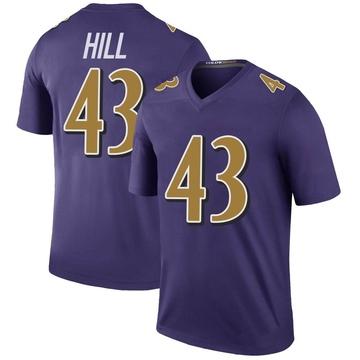 Youth Nike Baltimore Ravens Jaylen Hill Purple Color Rush Jersey - Legend