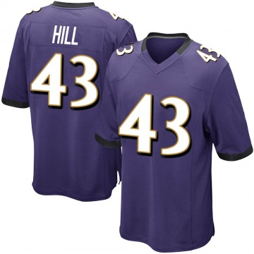 Youth Nike Baltimore Ravens Jaylen Hill Purple Team Color Jersey - Game