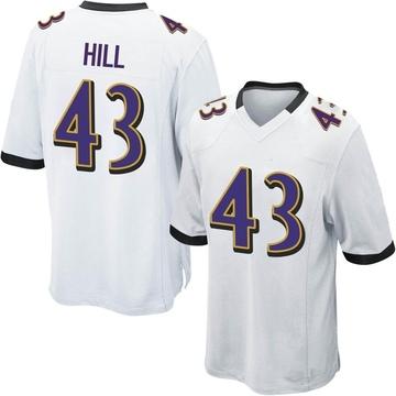 Youth Nike Baltimore Ravens Jaylen Hill White Jersey - Game