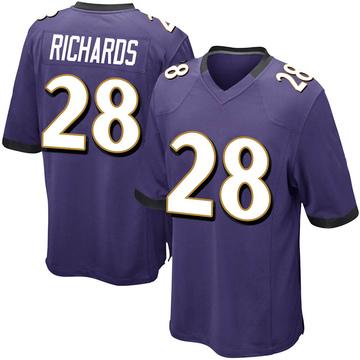 Youth Nike Baltimore Ravens Jordan Richards Purple Team Color Jersey - Game