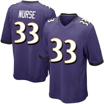Youth Nike Baltimore Ravens Josh Nurse Purple Team Color Jersey - Game