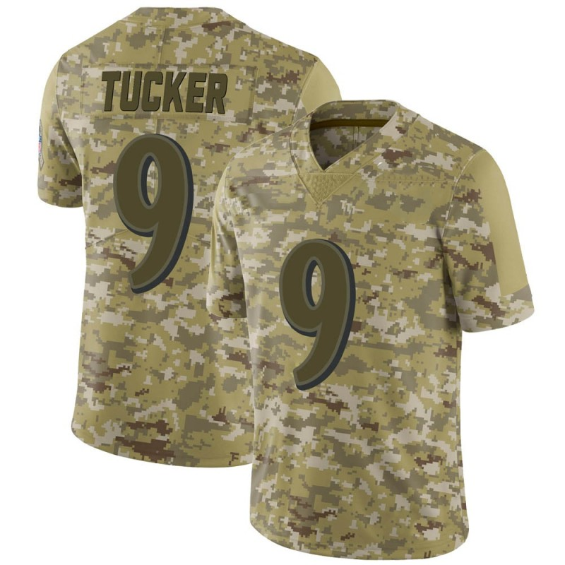 sale retailer 8e5e6 72491 Youth Nike Baltimore Ravens Justin Tucker Camo 2018 Salute to Service  Jersey - Limited