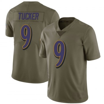 Youth Nike Baltimore Ravens Justin Tucker Green 2017 Salute to Service Jersey - Limited