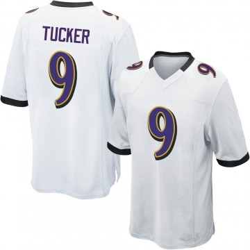 Youth Nike Baltimore Ravens Justin Tucker White Jersey - Game