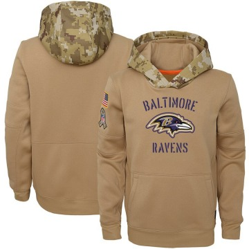 Youth Nike Baltimore Ravens Khaki 2019 Salute to Service Therma Pullover Hoodie -